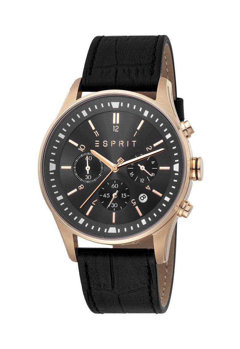 Часовник Esprit с хронограф и кожена каишка
