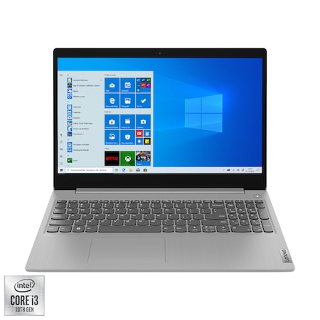 Лаптоп LENOVO IdeaPad 3 15IIL05, 15.6″, Intel® Core™ i3-1005G1, RAM 4GB, SSD 256GB, Intel® UHD Graphics, Microsoft Windows 10 Home S, Platinum Grey