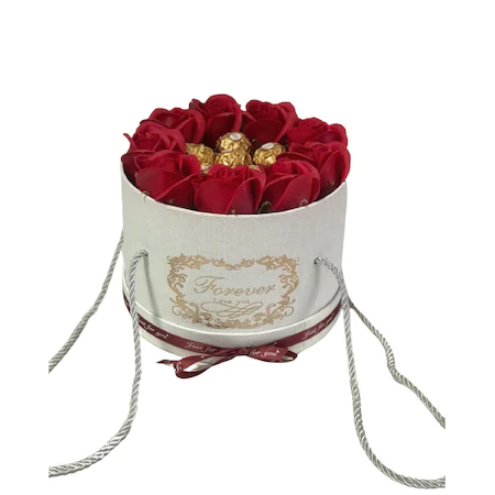 Подаръчна кутия Ароматни рози, Кръгла, Бяла