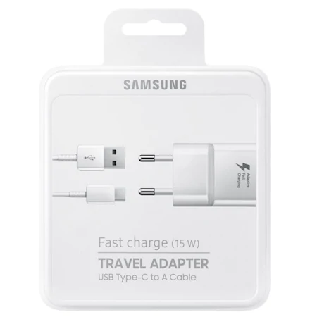 Зарядно Samsung Travel Adapter EP-TA20E Adaptive Fast Charge + USB Type-C, White, Retail Box