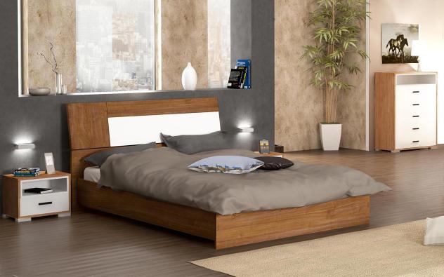 Спалня Фиола + 2 бр. нощни шкафчета , тъмна череша riverside + бял гланц