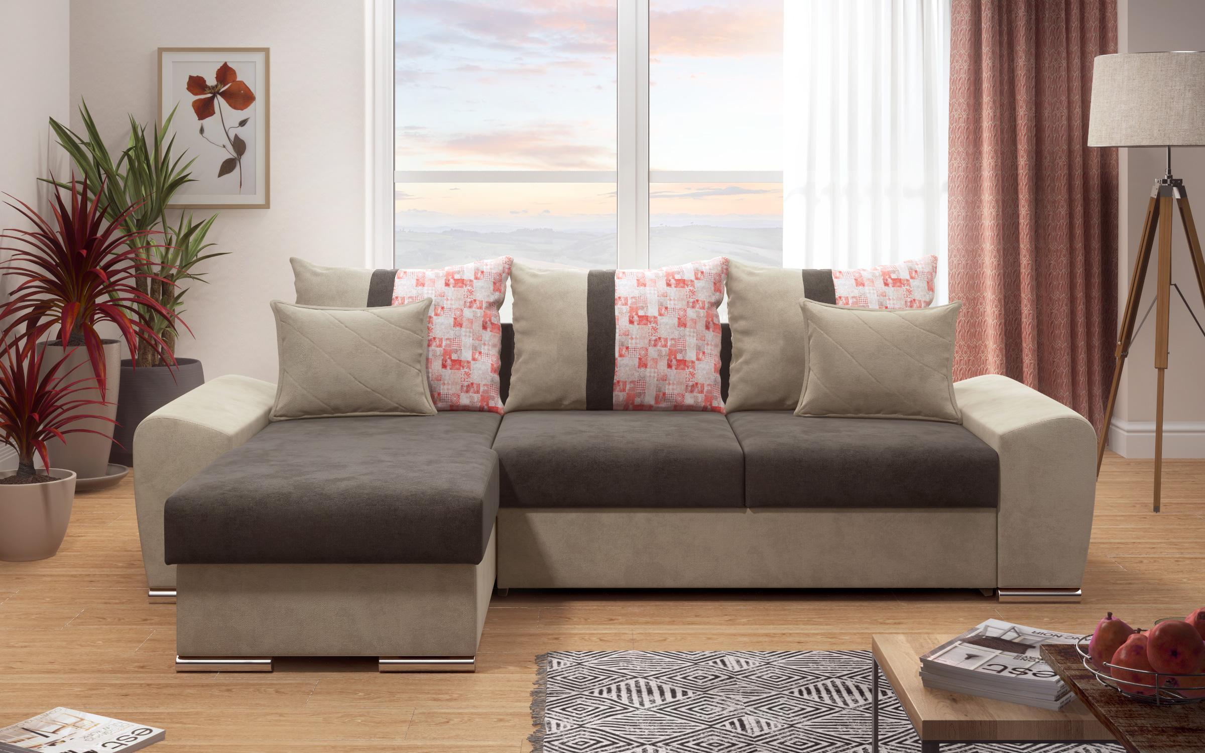 Разтегателен ъглов диван Атланта II, кафяв + бежово