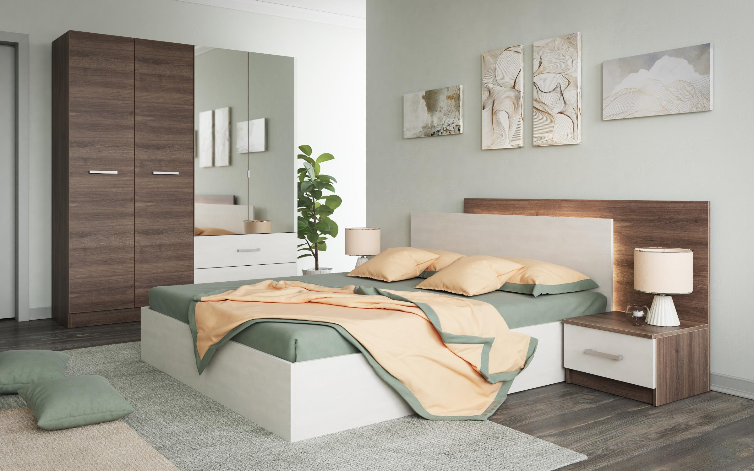 Спален комплект Моделато+ LED осветление , дъб какао + Silk