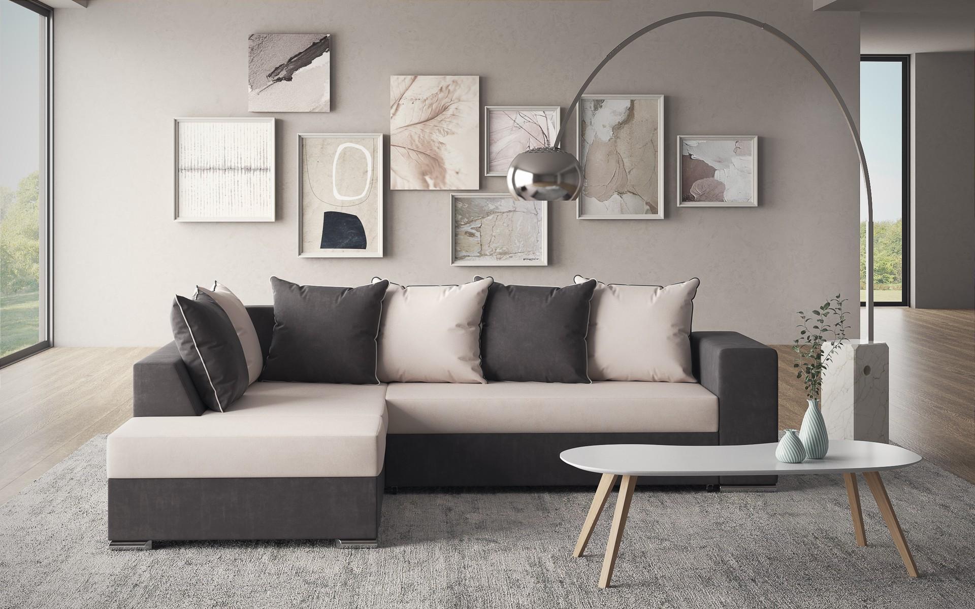 Разтегателен диван Еворио + табуретка , светло бежово + тъмно сив