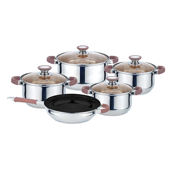 Комплект съдове за готвене Muhler MR-974 NEW 9 части, кафяви