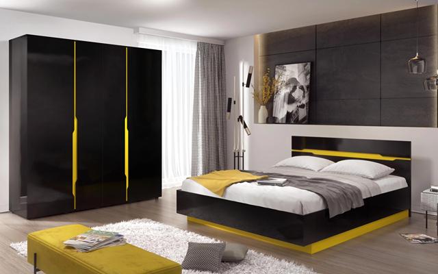 Спален комплект Гранада, черен гланц + жълто