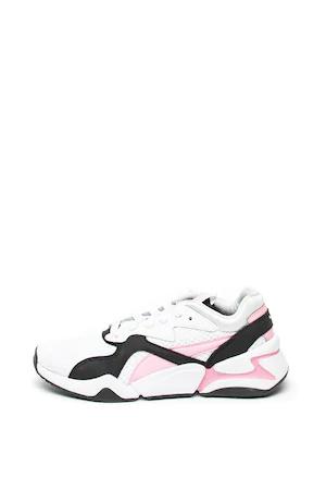Спортни обувки Puma Nova 90 s Bloc с кожа, Бял / Черен / Розов, 3.5