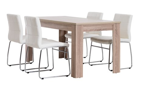 Маса HALLUND Д160 см дъб + 4 стола HAMMEL бели