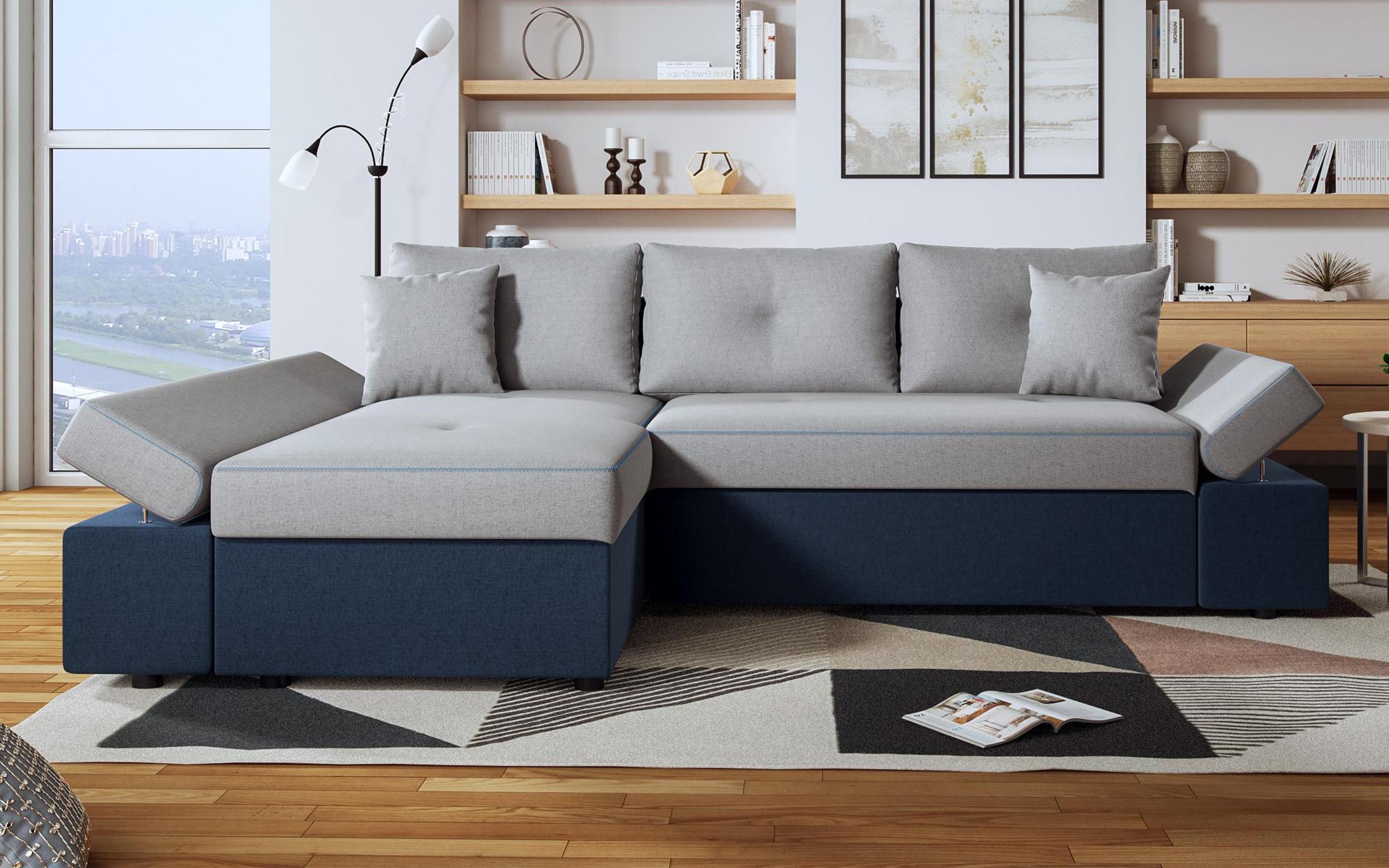 Разтегателен диван Виченца , сив + тъмно синьо