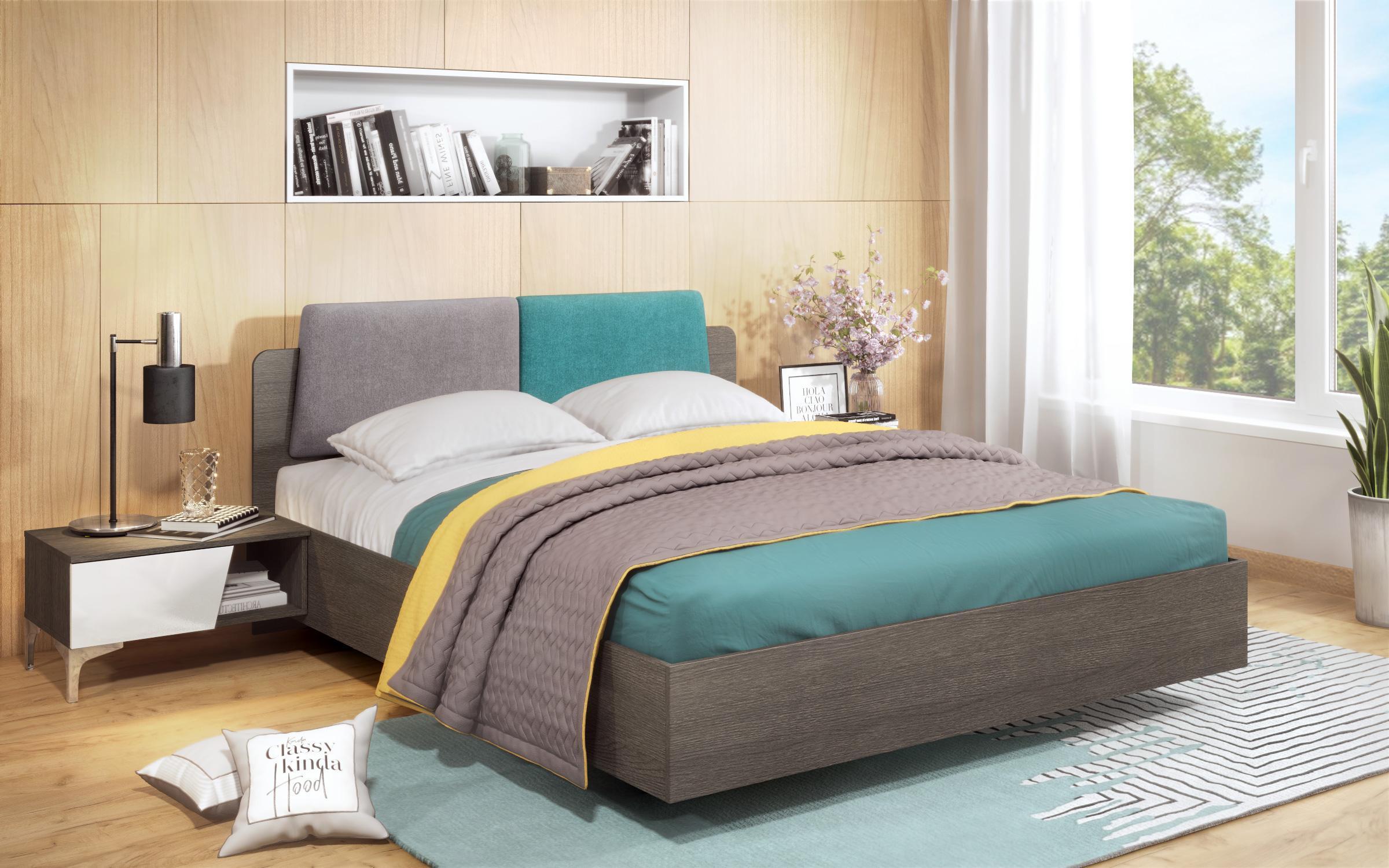 Спалня Анабел + 2 бр. нощни шкафчета , дъб антрацит + бял гланц