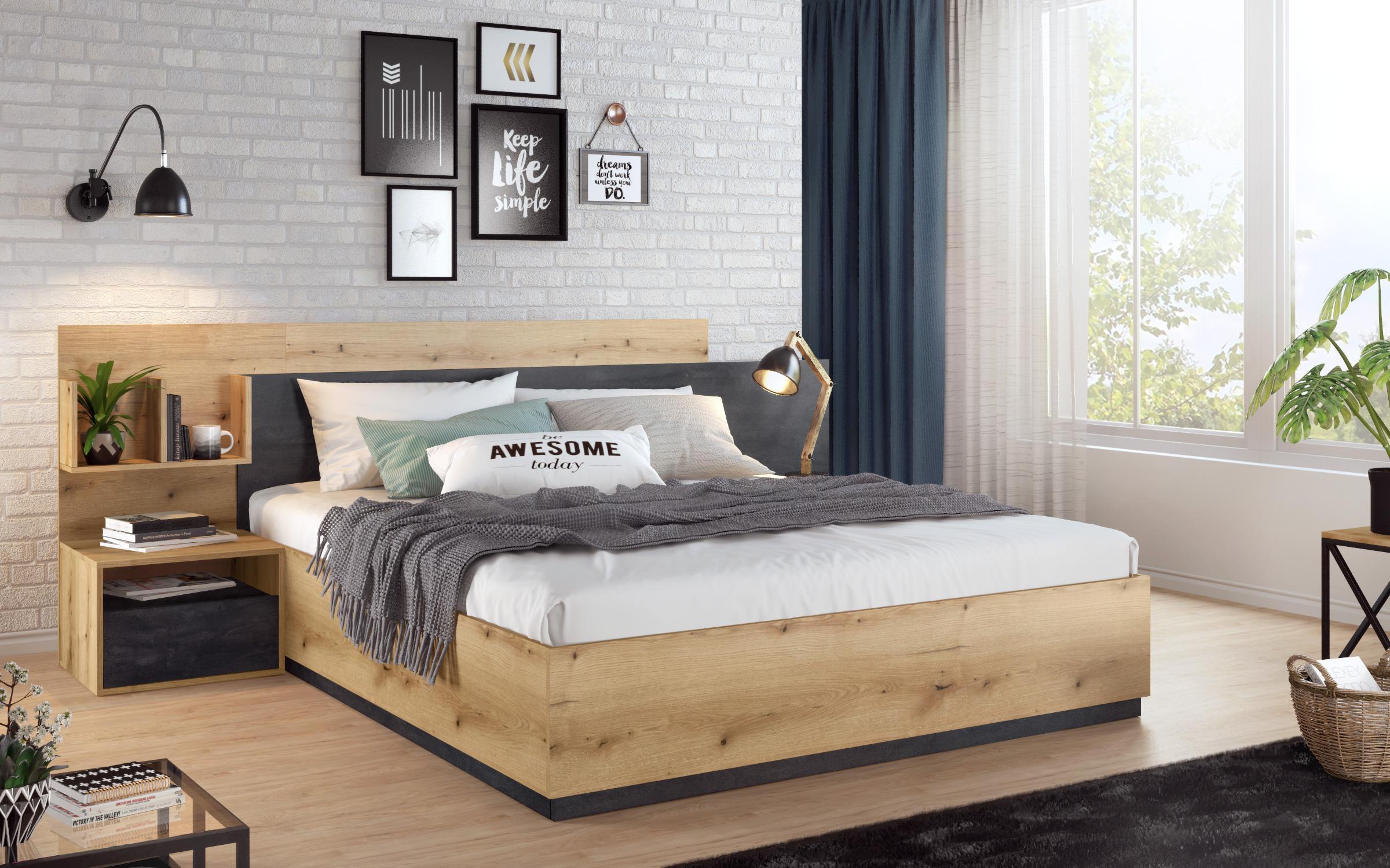 Спалня Изола + 2бр. нощни шкафчета , дъб евок + Magma