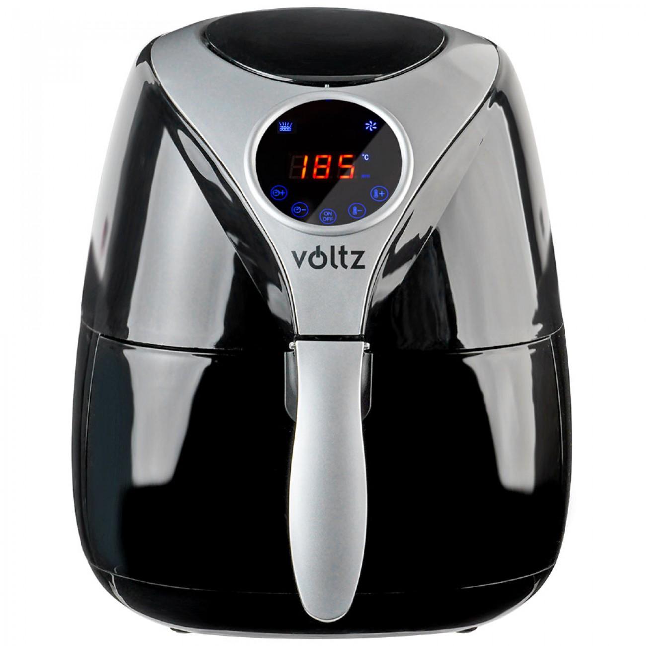 Фритюрник с горещ въздух Air Fryer Voltz V51980D, 1600W, 3.2 литра, Тъч дисплей, Таймер, Черен