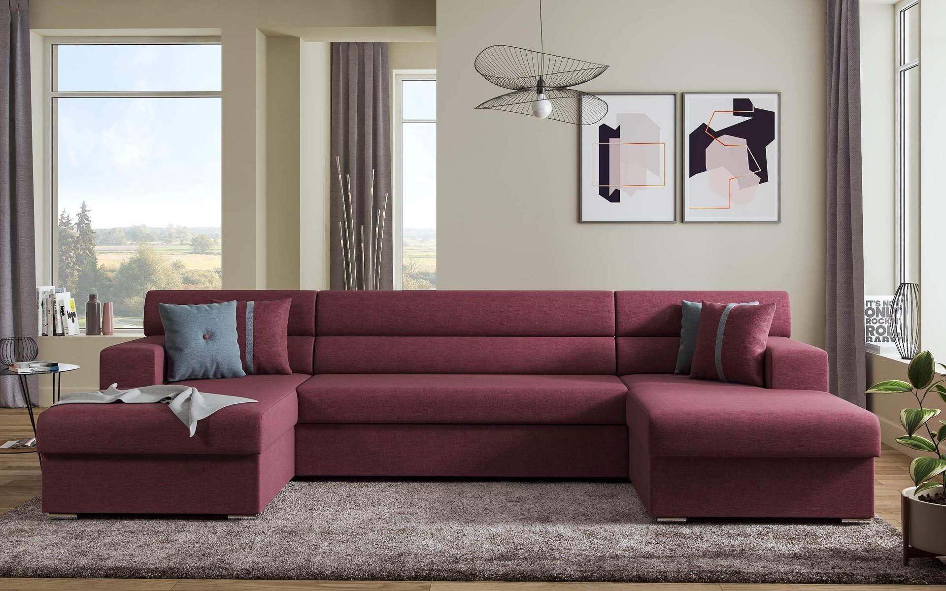 П-образен диван Долче , червен + сив