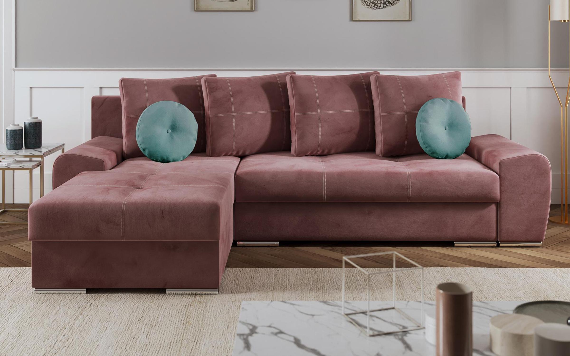 Разтегателен диван Роли, розов
