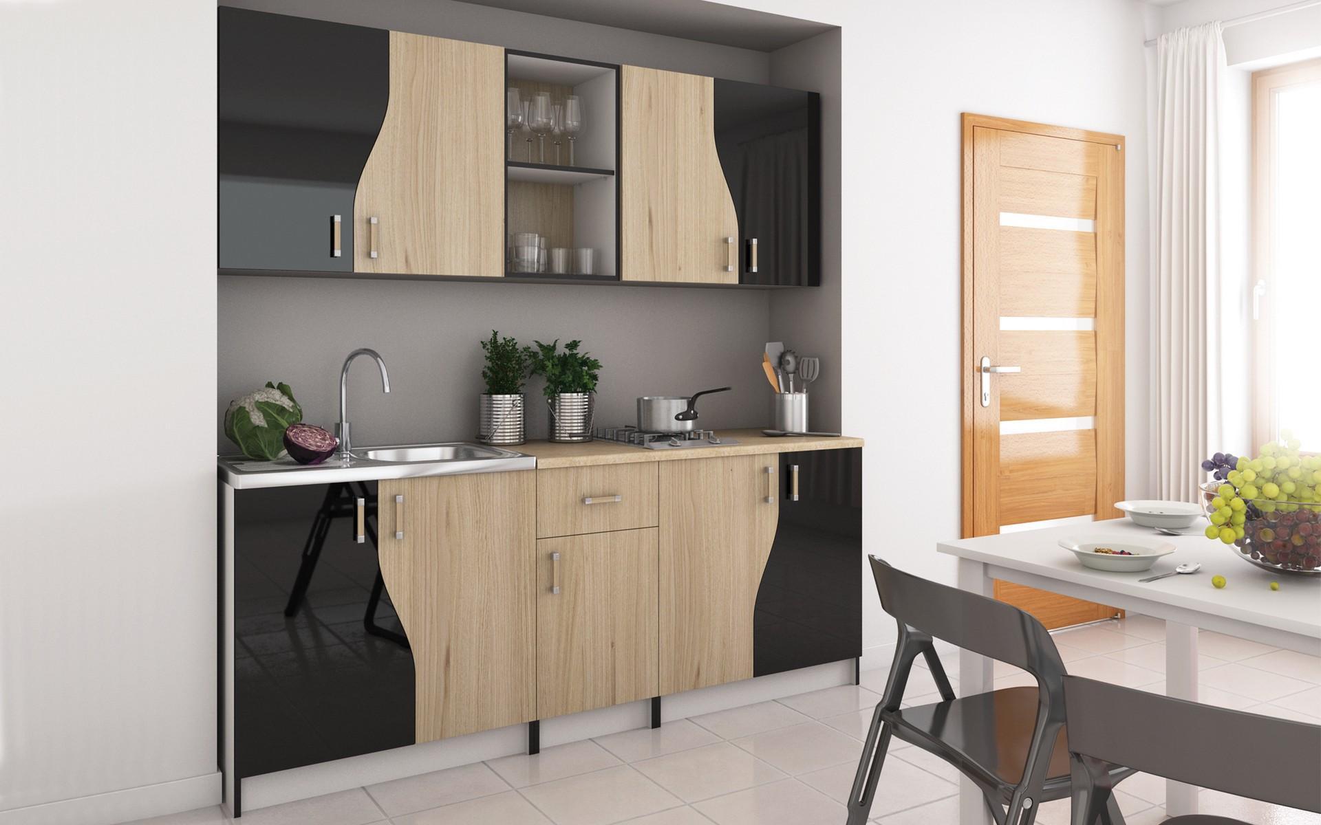 Кухня Слейн, бяла + дъб сонома + черен гланц