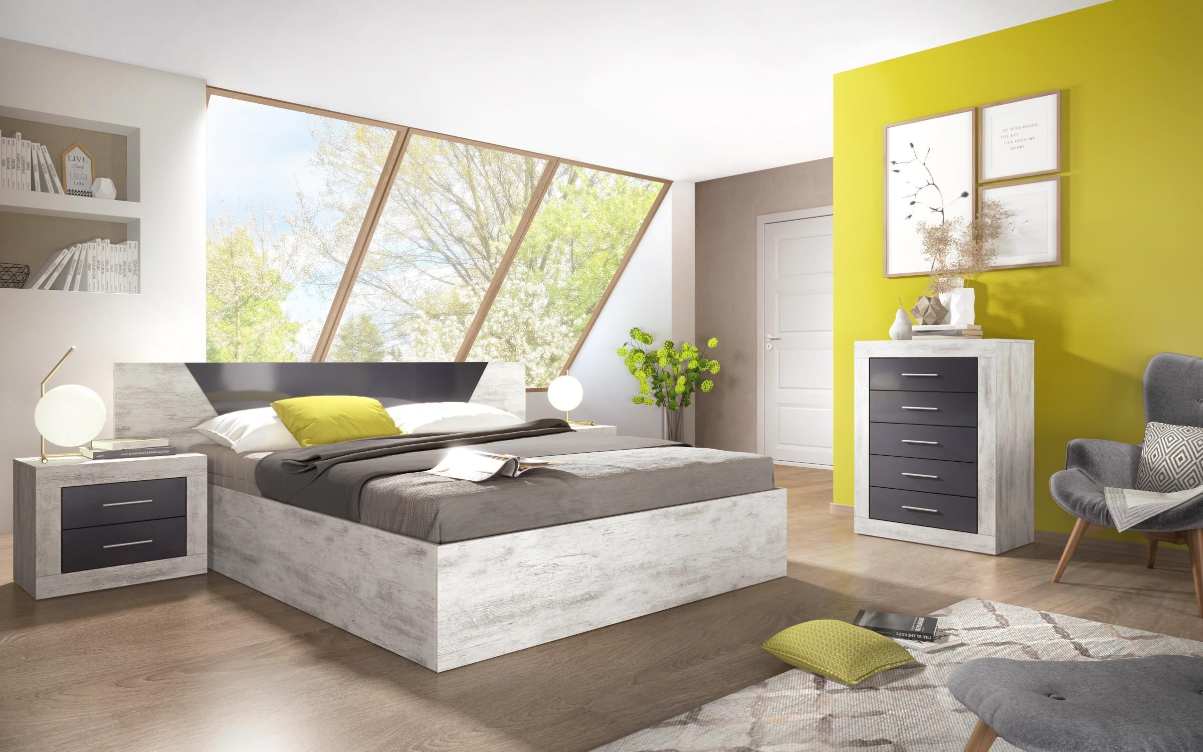 Спален комплект Канария, дъб антик + антрацит гланц