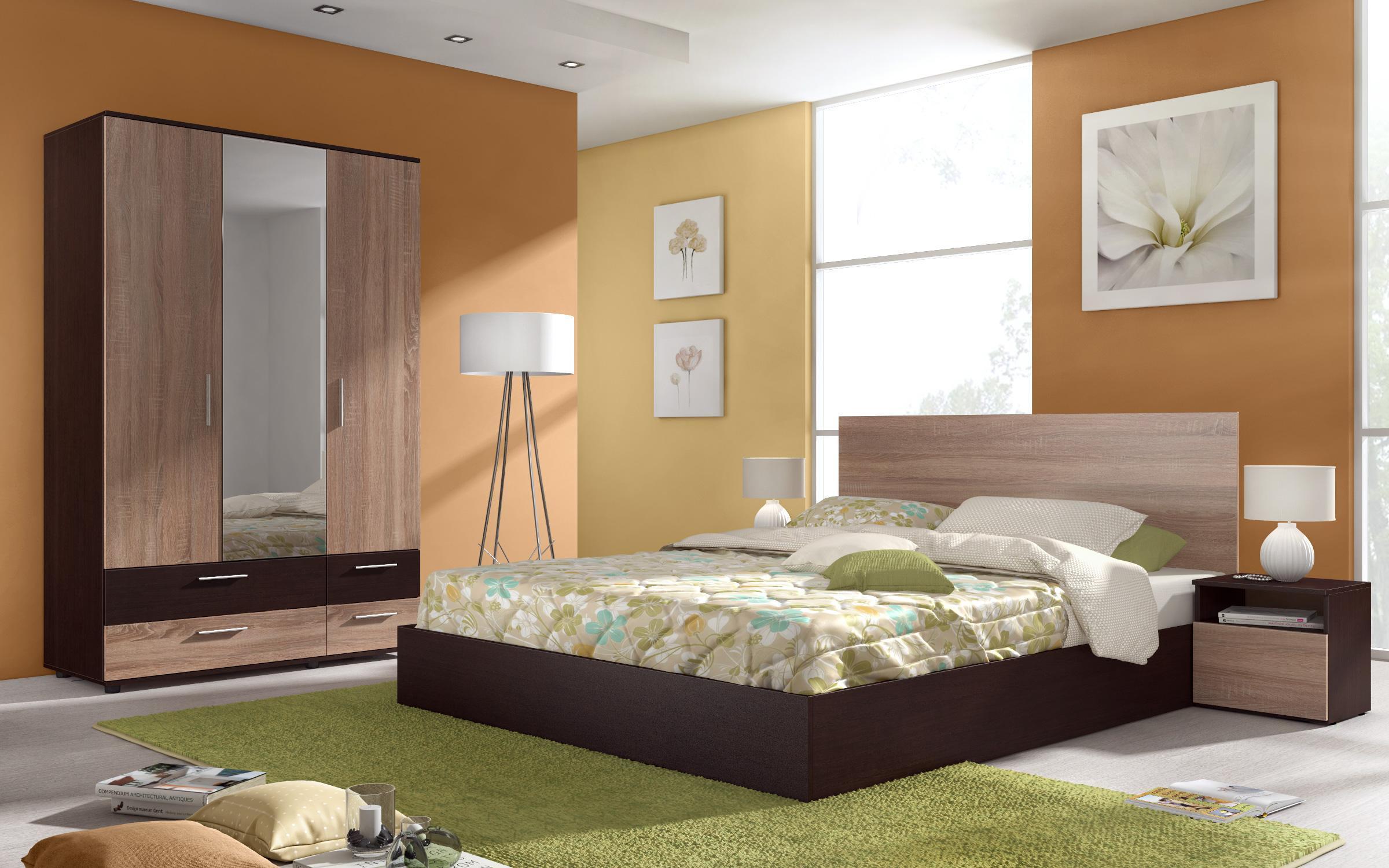 Спален комплект Миднайт + матрак, венге + дъб сонома