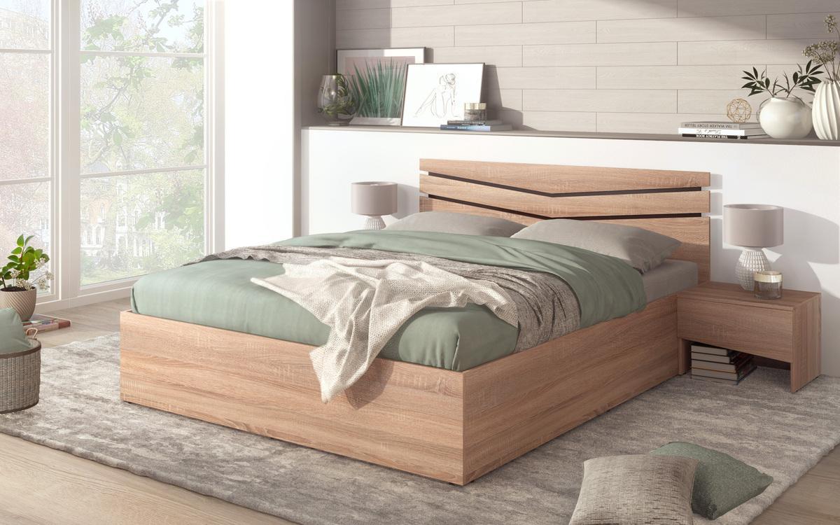 Спалня Вела + 2 бр. нощни шкафчета , дъб сонома + венге