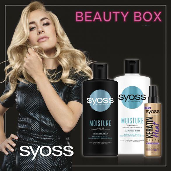 SYOSS Beauty Box Шампоан хидратиращ, 440мл.+ Балсам хидратиращ, 440мл..+ Спрей за коса за топлинна защита, 200 мл