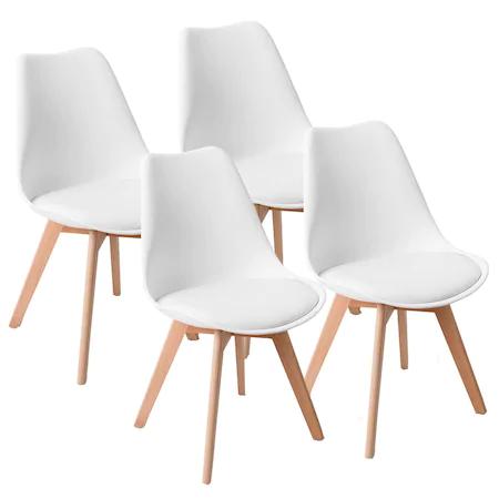 Комплект 4 стола Kring Havana, PP+PU, Бял