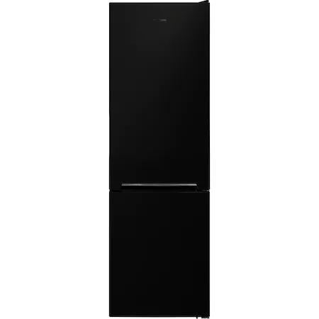 Хладилник с фризер Heinner HC-V268BKF+, 268 л, Клас F, LED осветление, Механичен контрол, Регулируем термостат, H 170 см, Черен