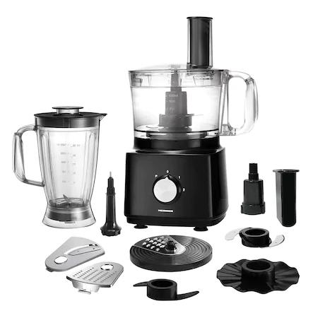 Кухненски робот Heinner HFP-750BK, 750 W, Купа 1.2 л, Блендер 1.5 л, Филиращи дискове, Чопър, Черен