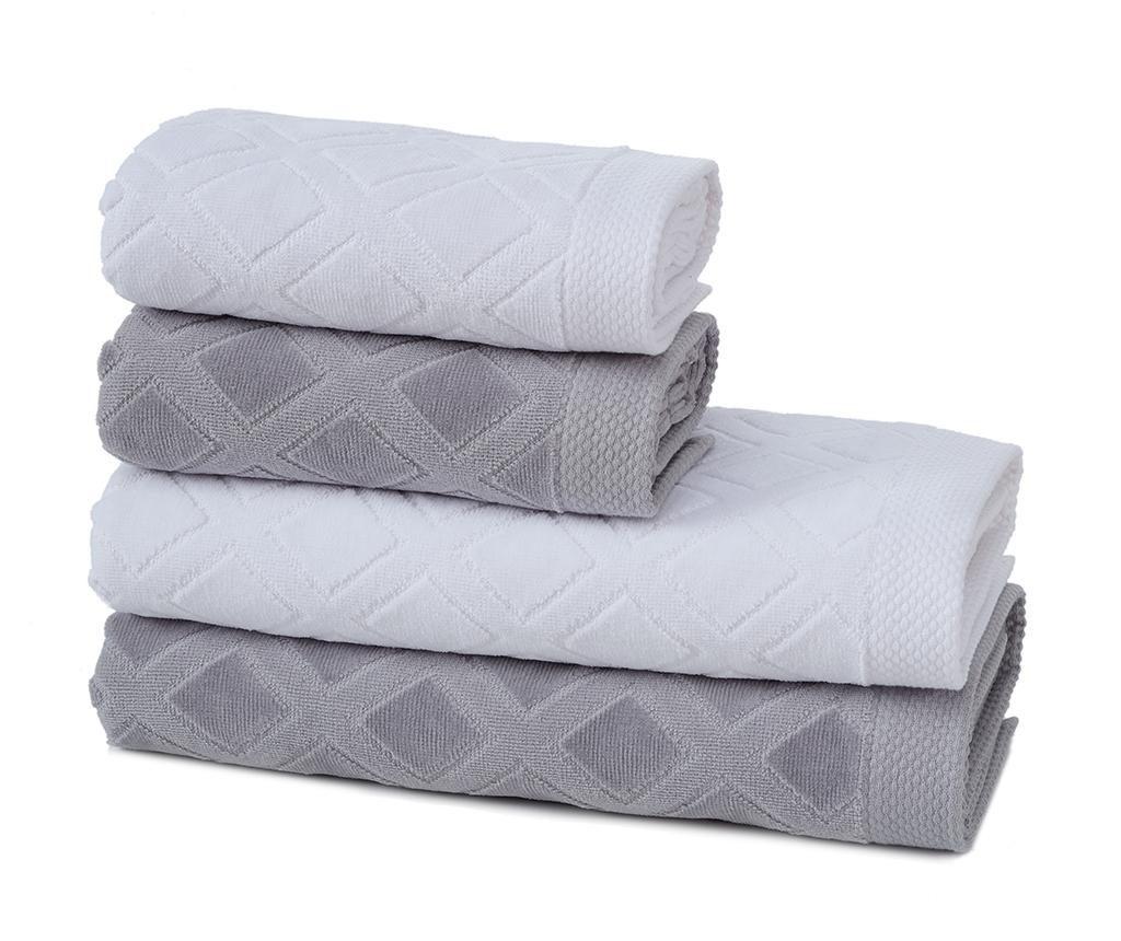 Комплект 4 кърпи за баня Jacquard Grey & White
