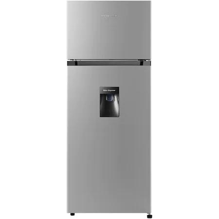 Хладилник Heinner HF-205SWD с 2 врати, 205 л, Клас F, Диспенсър за вода, LED осветление, H 143.4 см, Сребрист