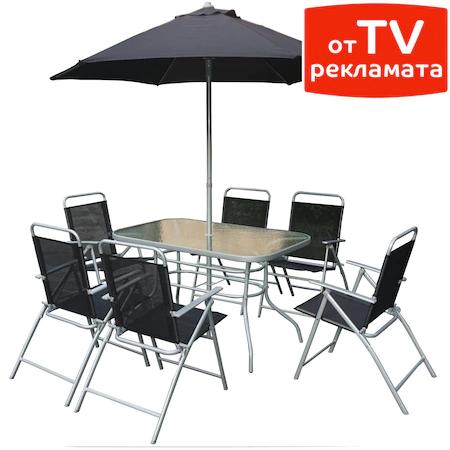Комплект мебели Kring Donso за градина/тераса, Маса, 6 сгъваеми стола, Чадър, Антрацит