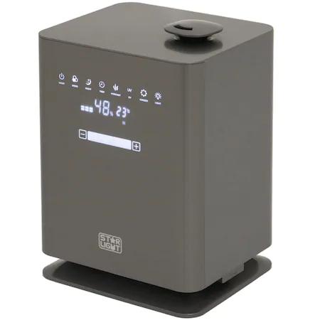 Овлажнител на въздух Star-Light UHS-4511UG, Резервоар 4.5 л, Дисплей LED, Функция Plasma, Лампа UV, Пара топла/студена, Сензорен контрол, Таймер, Дистанционно, Сив