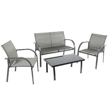 Комплект градински мебели Kring Odessa, Диван 2 места, Маса 2 стола, Стомана/Стъкло, Сив
