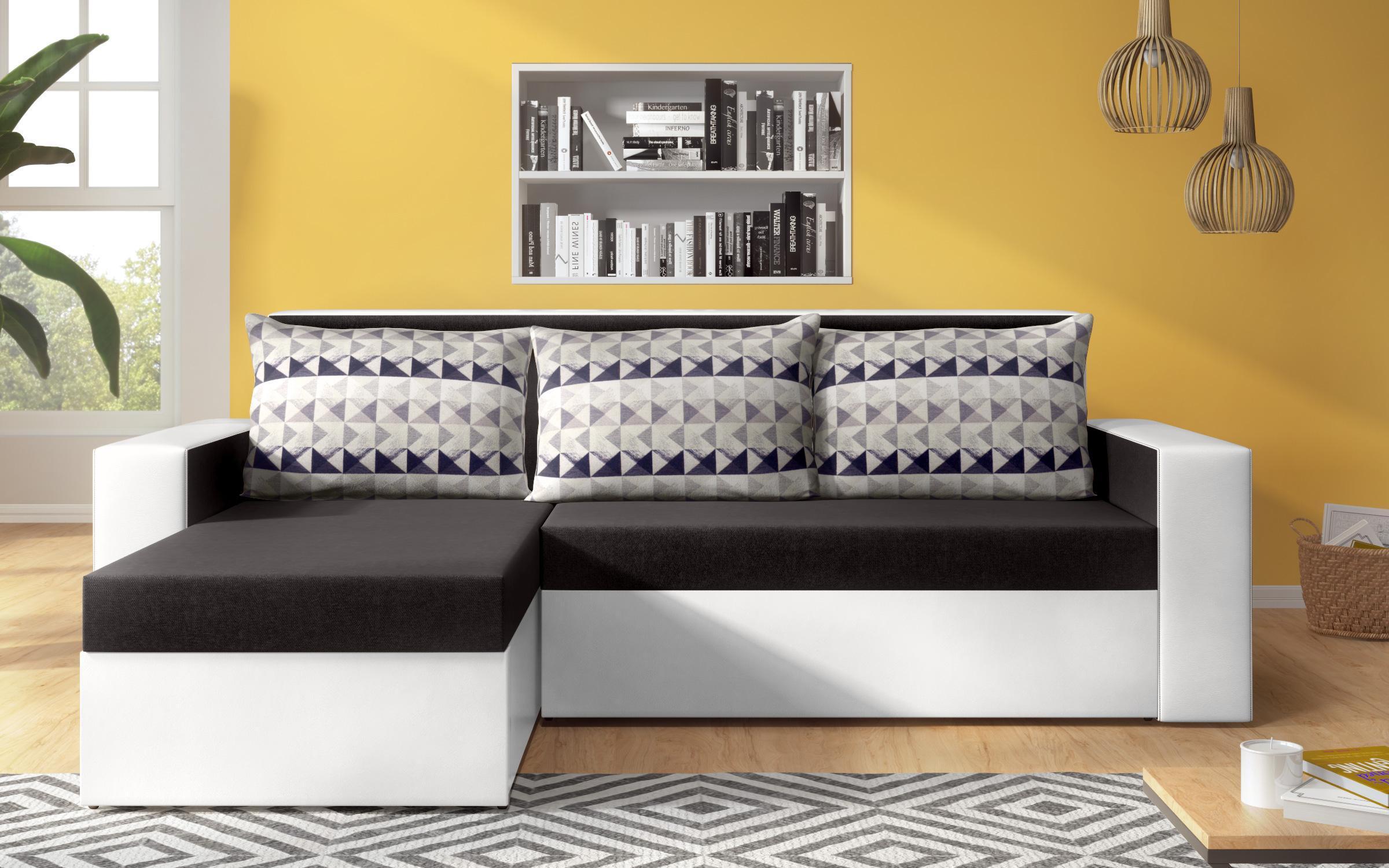 Разтегателен диван Касиди , черен + бяла