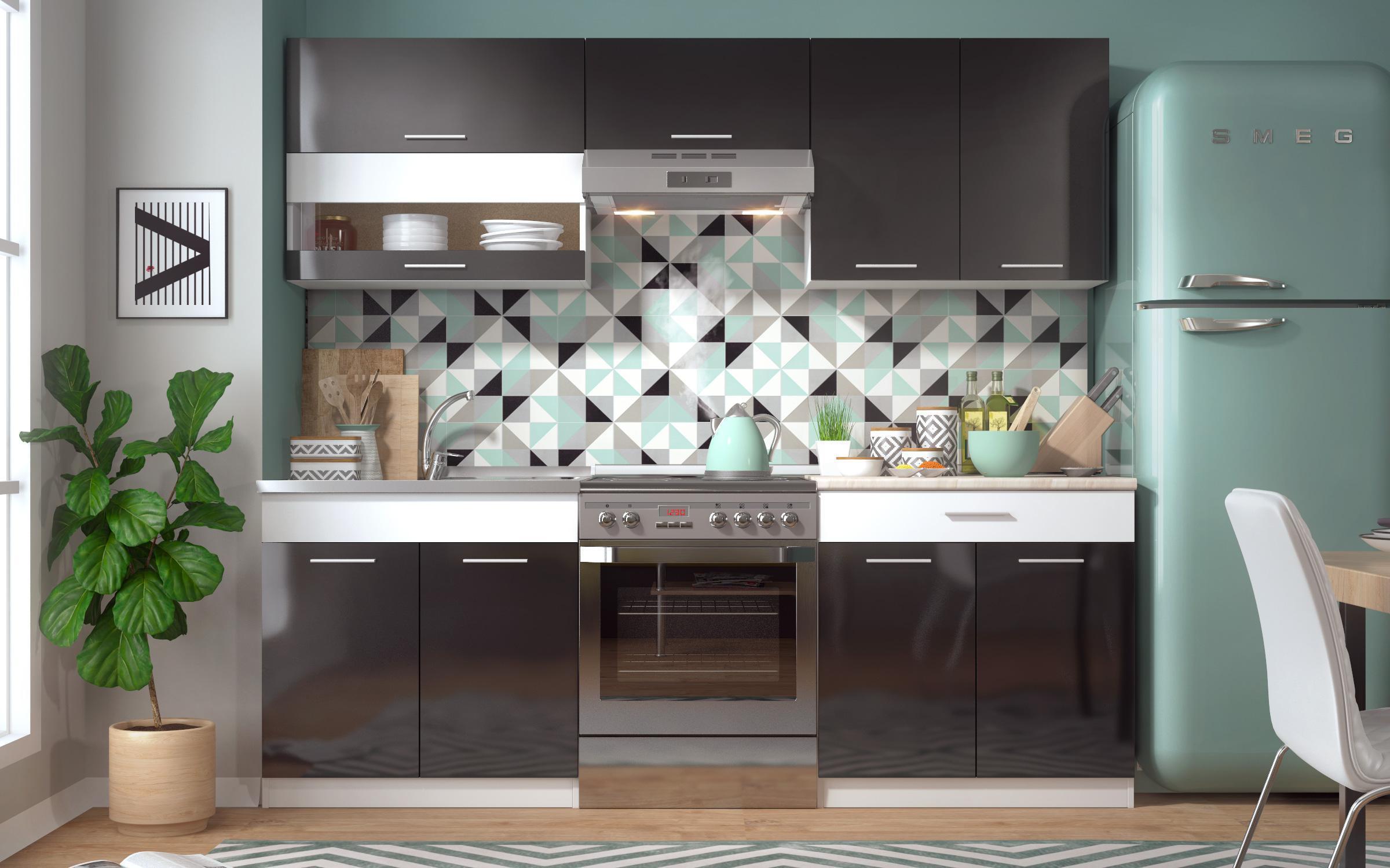 Кухня Вивиан S , бяло шагре + черен гланц