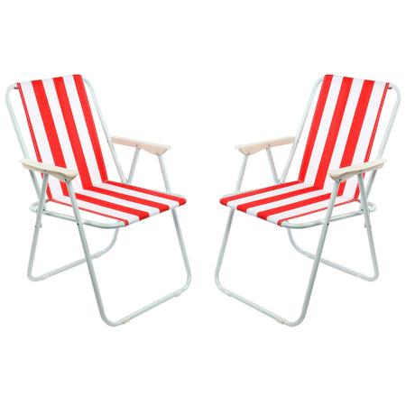 Комплект 2 стола Kring Oxford за градина/тераса/плаж, Сгъваеми, 60×70 cм, Червен/Бял