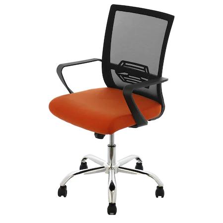 Офис стол Kring Ivy, Ергономичен, Мрежа, Черен/Оранжев