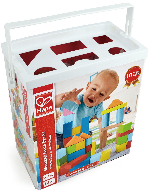 Дървени кубчета Hape в кутия за сортиране – 101 броя
