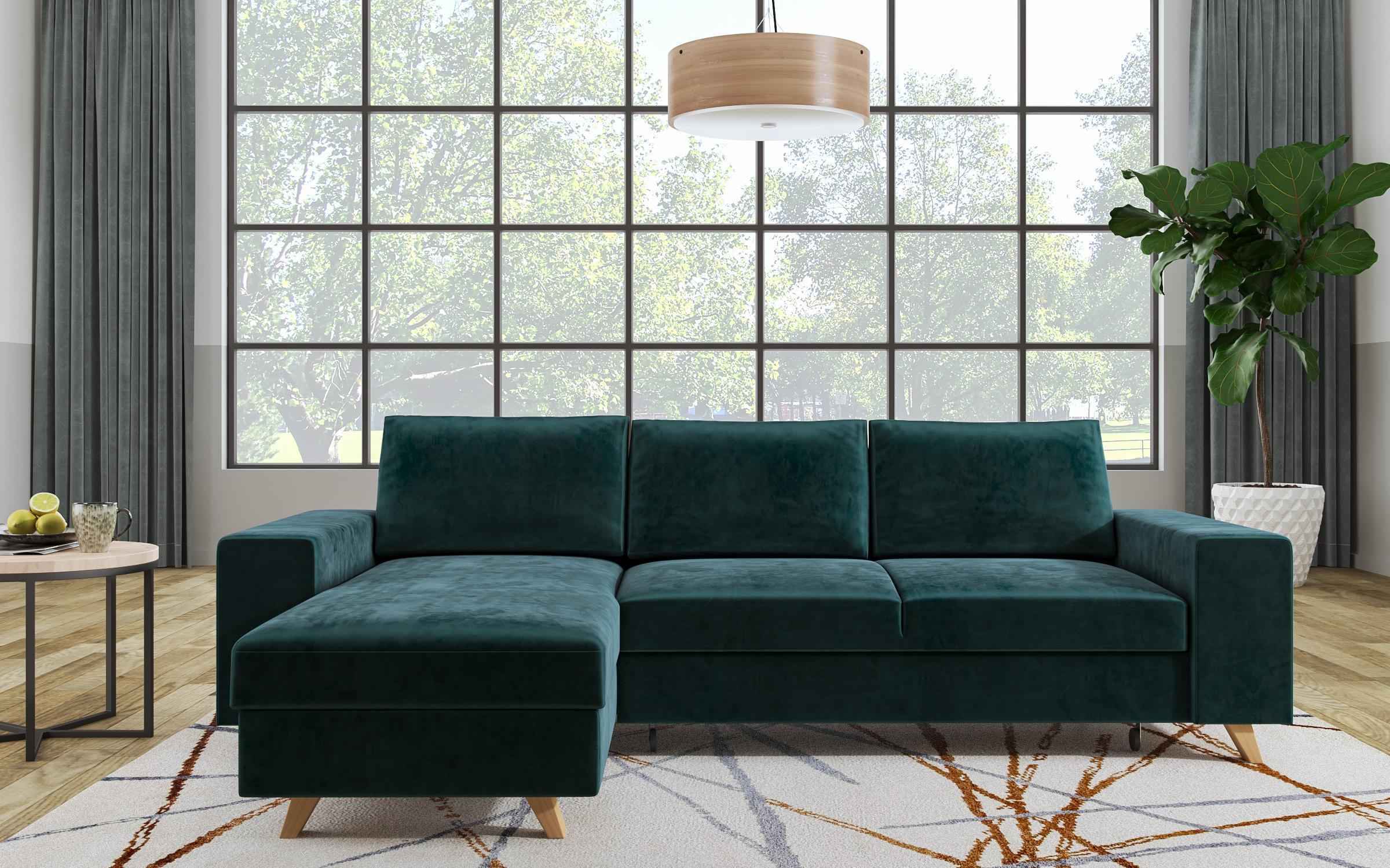 Разтегателен диван Бохо , тъмно зелен