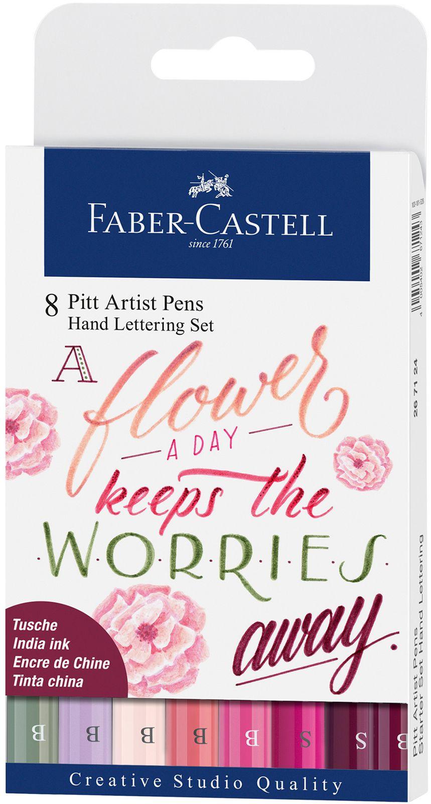 Комплект калиграфски маркери с четка Faber-Castell – 8 цвята, розови