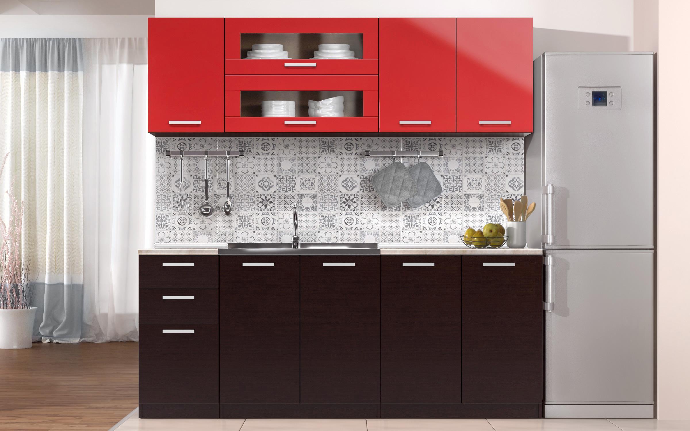 Кухня Дарина , венге + червен гланц