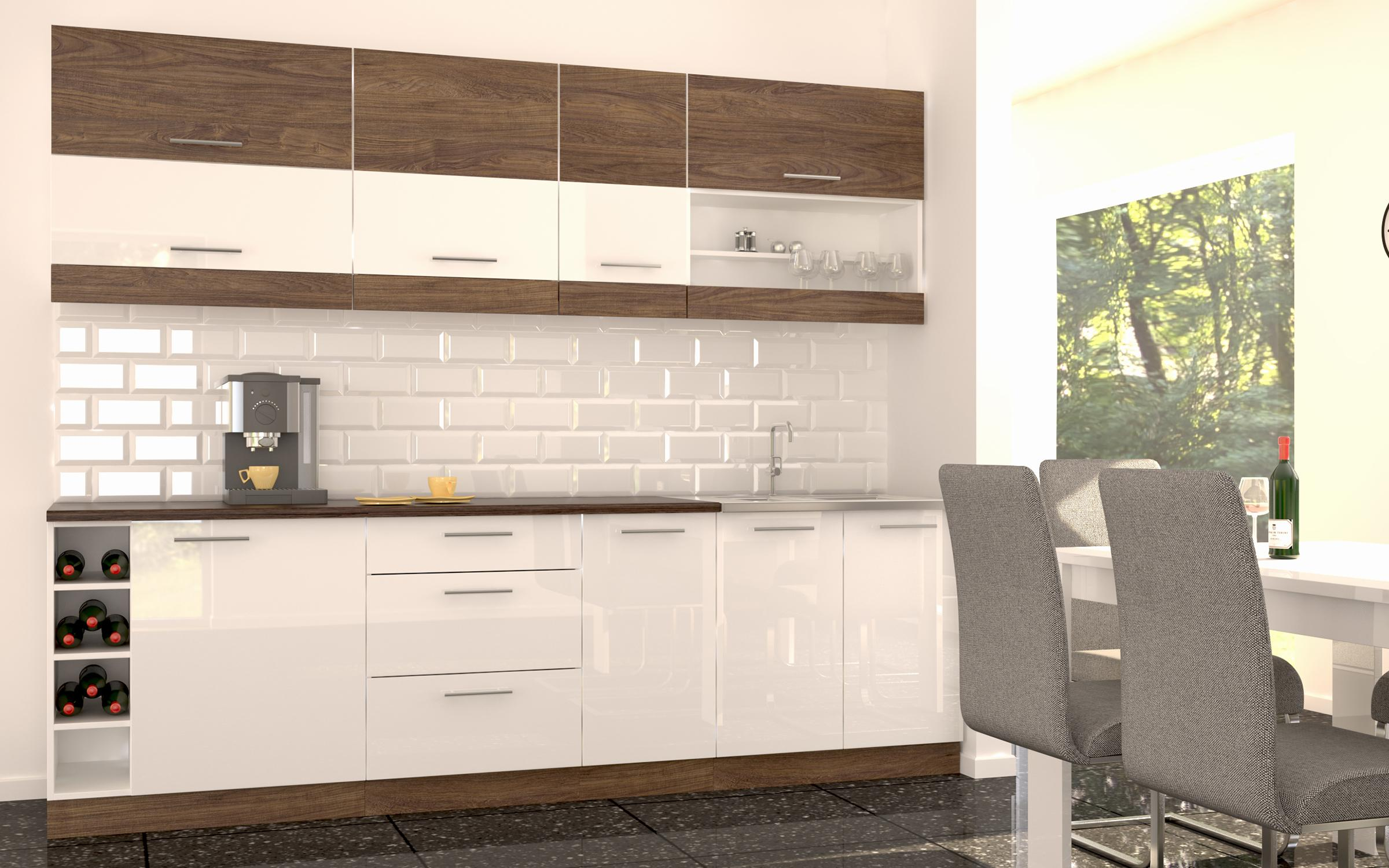 Кухня Модо , бял + бял гланц + Vintage Marine Wood