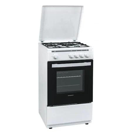 Газова готварска печка Heinner HFSC-V50WH, 4 газови котлона, Газ, Обезопасени котлони и фурна, 50 см, Бяла