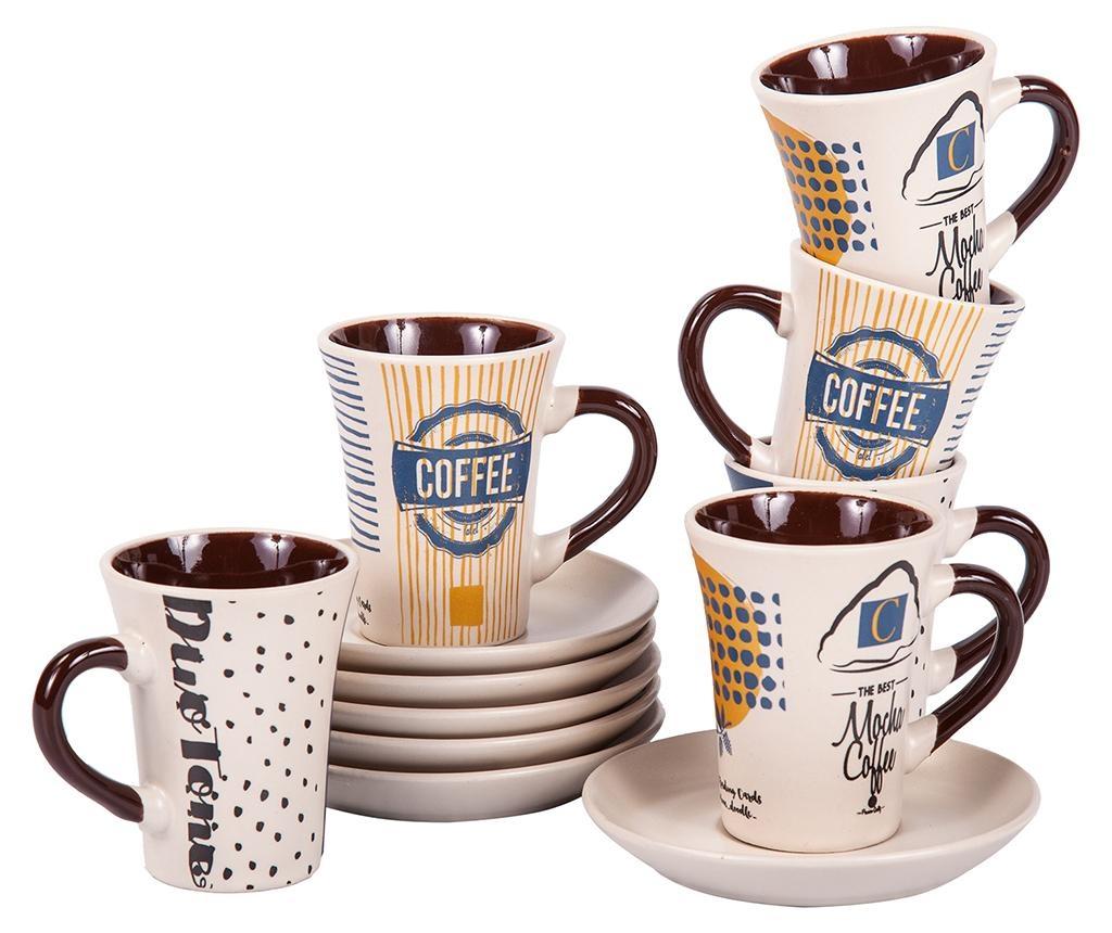 Сервиз Mocha Coffee Tall 6 чашки и 6 чинийки