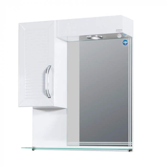 Горен PVC шкаф Макена Орфей за баня с огледало и LED осветление 55х60х15см