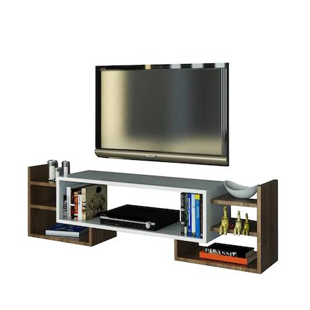 Секция TV Woody Fashion Sema, 140 x 29.6 x 40 см, Бяла/Покритие орех