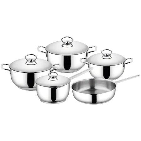 Комплект за готвене Kring Faro, За всички източници на топлина, 9 части, Inox