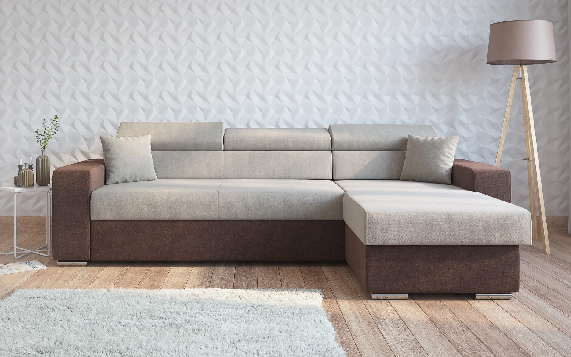 Разтегателен диван Едистон , кафяв + светло кафяво
