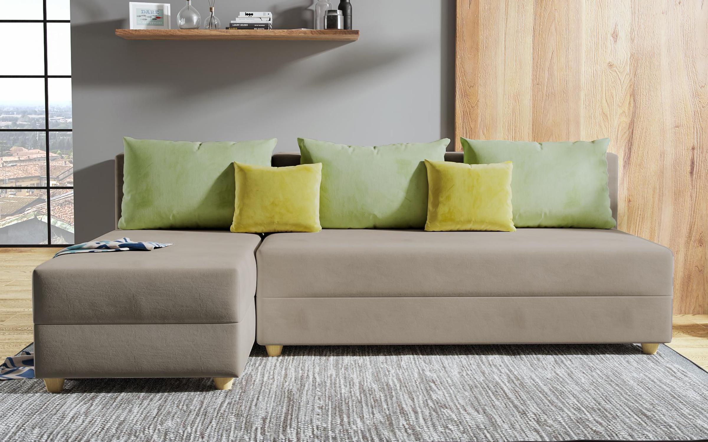 Разтегателен диван Дафини , светло кафяв + зелено