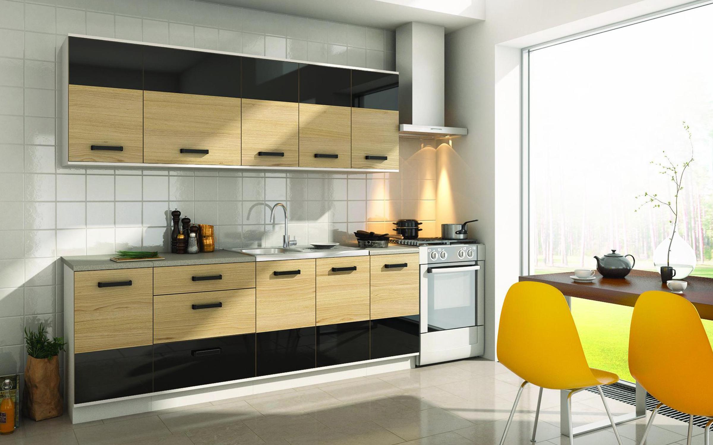 Кухня Савана , дъб сонома + черен гланц