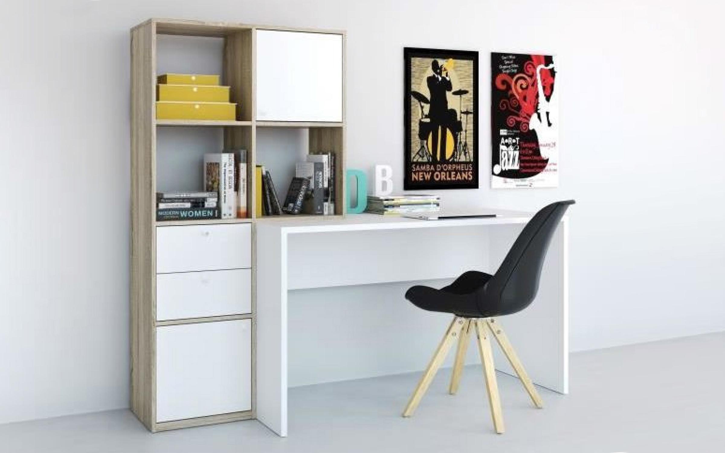 Бюро Алесо + шкаф , бяло + дъб сонома