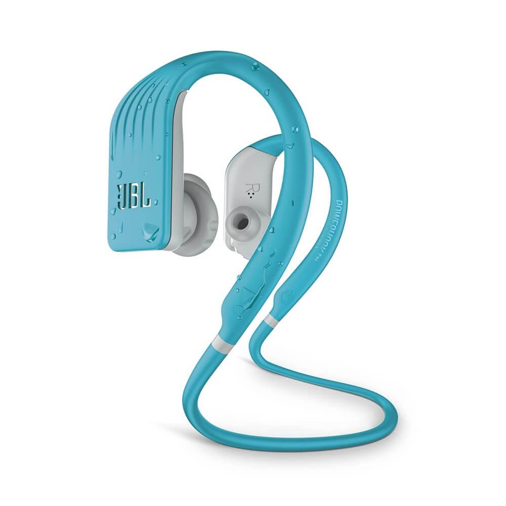 Водоустойчиви спортни Bluetooth слушалки JBL Endurance JUMP с микрофон за мобилни устройства (светлосин)